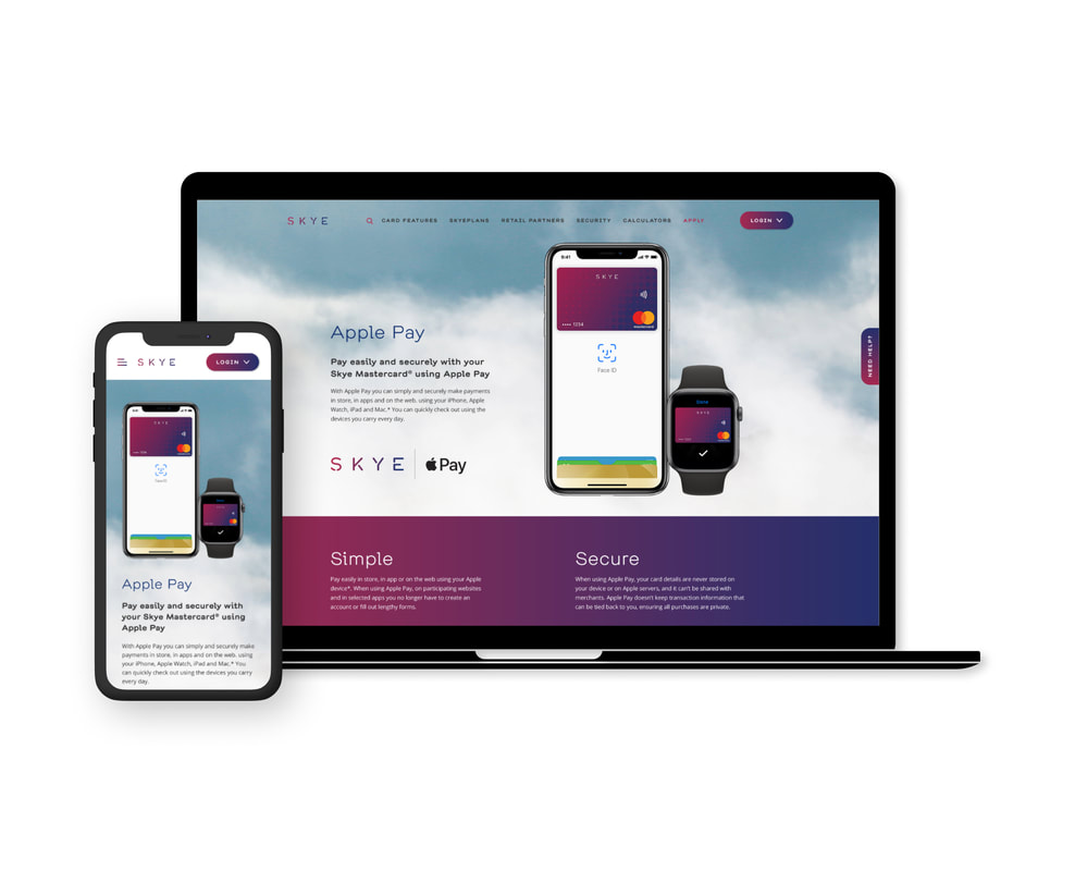Skye Apple Pay desktop and mobile screens